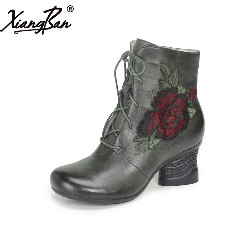 Xiangban brand Martin boots women cow leather winter shoes lace up women short boots thick heel round head black women ankle boots handmade vintage medium heel round head shoes elegant boots xiangban