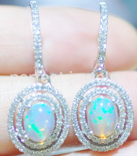 Natural Opal Earring Real Original 925 Sterling Silver 0 5ct 2pcs Gems Drop Luxury Earrings Fine Jewelry 16022913 In From