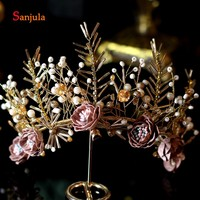 Handmade Flowers Pearls Tiaras and Crown Gold Wedding Hair Jewelry Sweet 16 Quinceanera Party Hair Accessories H225