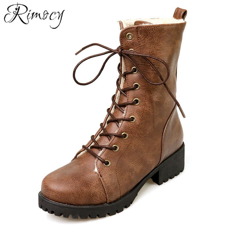Rimocy Women Ankle Boots Vintage Soft Leather Lace Up -3772