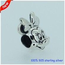 Se adapta a pandora pulseras minnie granos de plata más nuevo original 100% 925 sterling silver charm joyería al por mayor diy