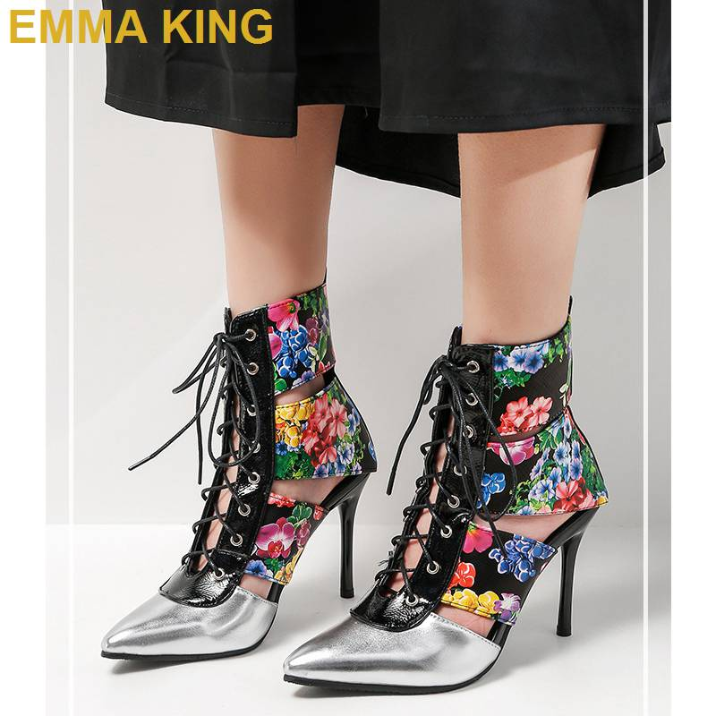 2019 Spring Autumn Flower Ankle Boots Cut Out Women High Heels Pointed Toe Leather Boots Lace Up Stiletto Booties Plus Size 43