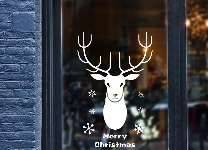 Christmas elk small snowflake festival Atmosphere decoration Store shop <font><b>office</b></font> door decoration <font><b>sticker</b></font> window wall stic