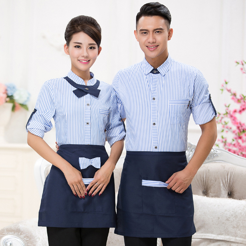 Hotel Workwear Fast Food Shop Uniform Cafe Staff Overalls Long Sleeve Hot Pot Catering Breathable Waiter Single Jacket H2378