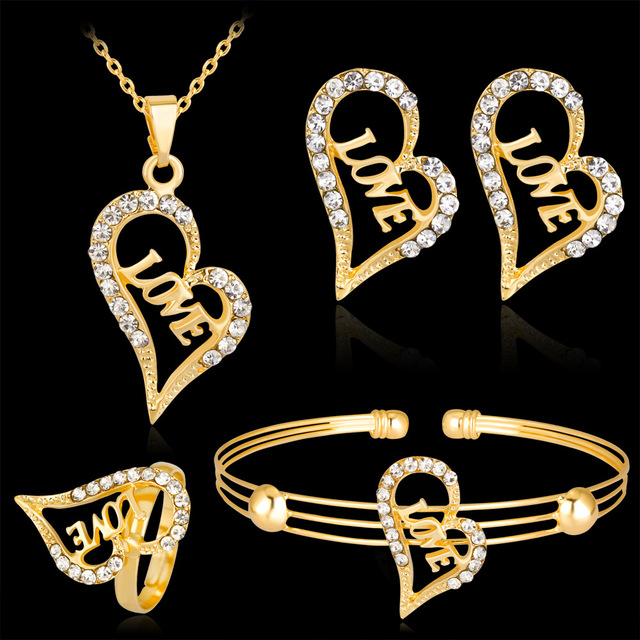 New Simple Rose Gold Love Jewelry Sets Alloy Crystal Heart Jewelry