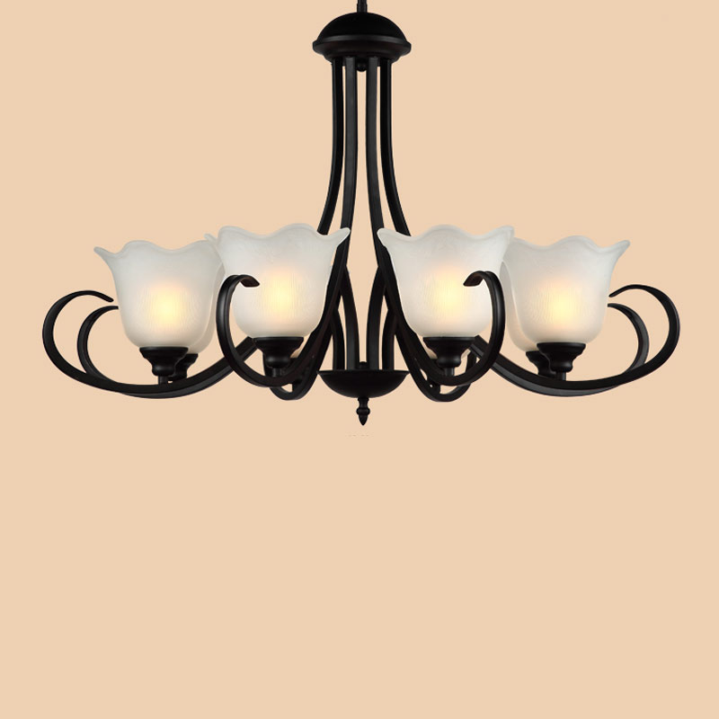 Modern White Lampshade Lustres Glass E27 Chandelier Living Room Foyer Kitchen Bedroom Lamp Decor Home Lighting Fixtures 110-220V modern crystal lustres pendant lamp gold lampshade light fixtures for restaurant hanglamp e27 home decor bedroom 110v 220v avize