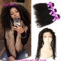 Предварительно Сорвал 360 Кружева Фронтальной С Bundle Бразильский Странный Вьющиеся девственные Волосы С Закрытия Вьющиеся Волосы 360 Фронтальная С Пучками дело