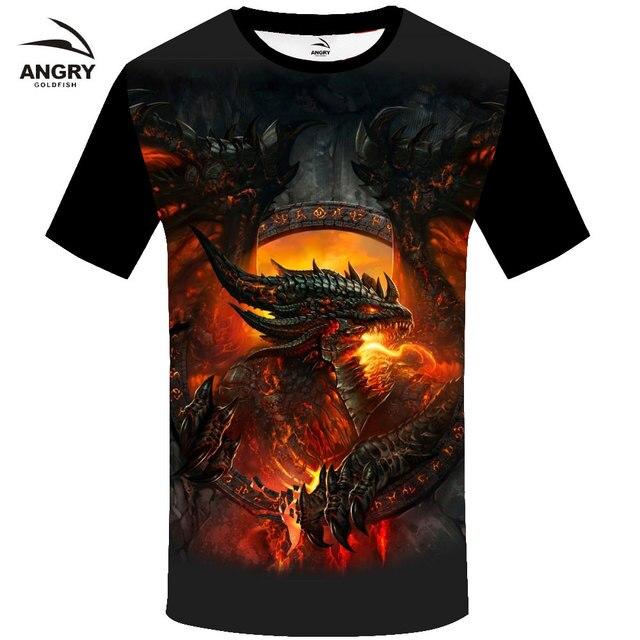 2018 Popular summer Evil dragon tshirt New style cotton men t-shirt Black T Shirt Hip Hop Short sleeve t-shirts XXXL