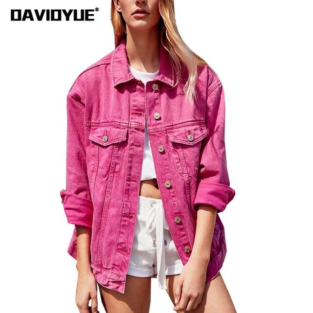 b6fe8db74 2018 Spring pink green black denim jacket women basic coat ...