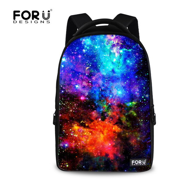 ФОТО FORUDESIGNS Stylish Galaxy Women Travel Backpack The Starry Sky School Backpack For Student Durable Laptop Backpack Cute Mochila