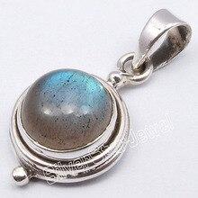 LABRDORITE de FUEGO AZUL plata Colgante HECHO A MANO 2.5 CM 2.8 Gramps