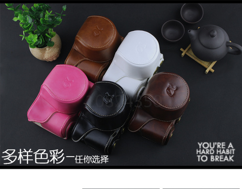 New Protective Leather Camera Case Cover Bag and Shoulder Neck strap for Sony Alpha a6000 a