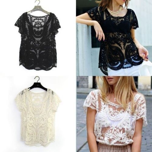 6d20592b7164f8 Sexy Semi Sheer Women Sleeve Embroidery Floral Lace Crochet T-Shirt Top  Blouse