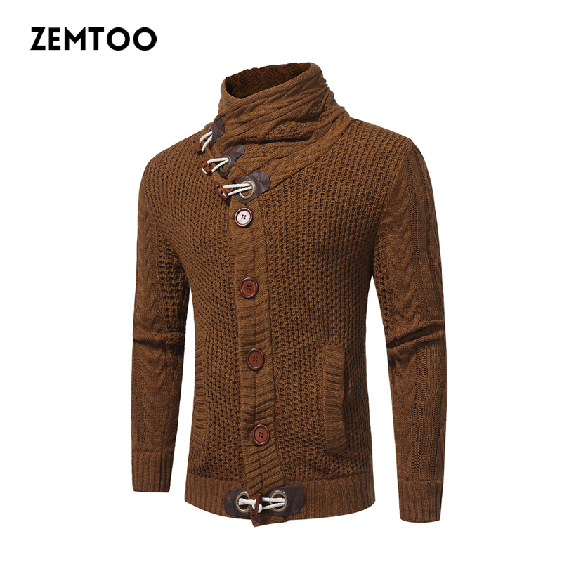 zemtoo MenS Sweater 2017 Male Brand Casual Slim Sweaters Male Sweater Pullover Men Men Solid High Lapel Jacquard Hedging ZE0349