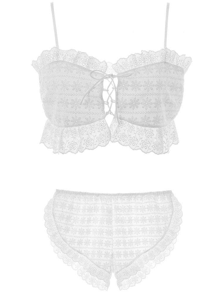 New sexy woman Lingerie retro home service white lace adjustable strapless tube top underwear pajamas set in Pajama Sets from Underwear Sleepwears