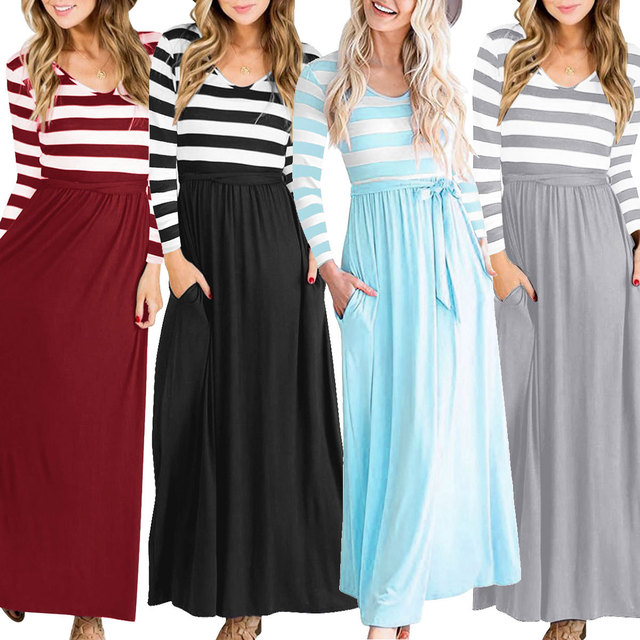 a2aefc7a05a 2018 autumn new style European and American ladies  long dresses ...