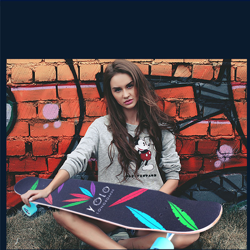 Professionnel de Planche À Roulettes D'érable Canadienne Lonboard planche de skate 4 Roue Descente Rue De Danse Conseil de La Dérive de Rouleau-conseil 107 & 117 CM - 2