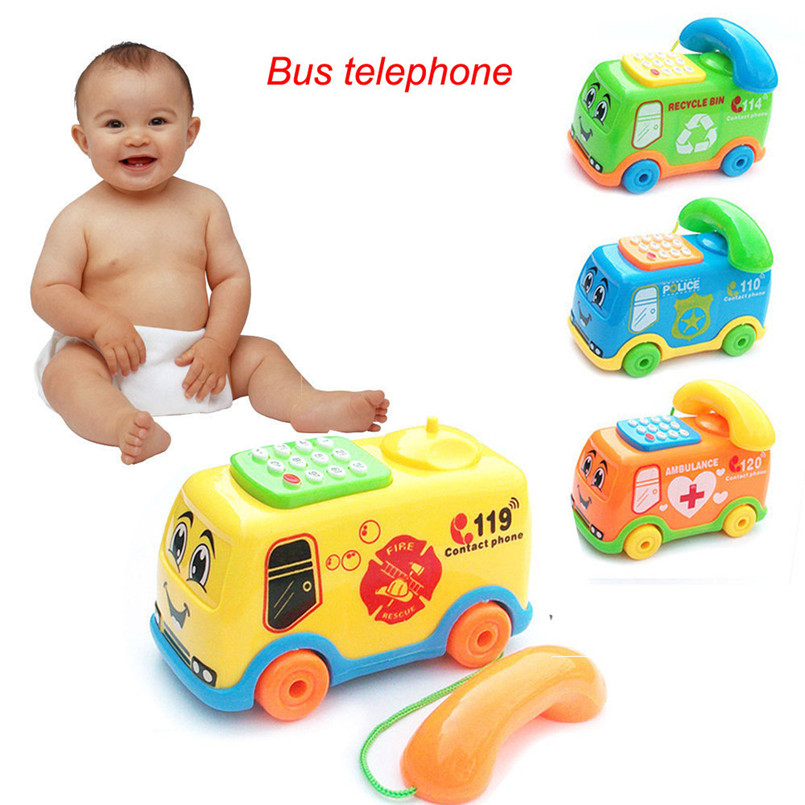 2018 Hot Sale Musical Toys Baby Toys Music Cartoon Bus Phone Educational Developmental Kids Toy Gift New Relogio Infantil Z#