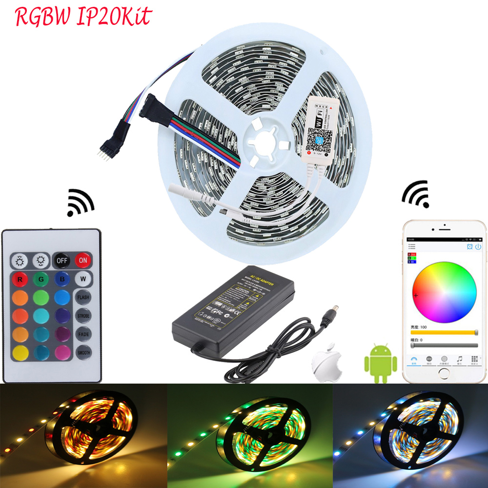 RGBW Warm White 5050 RGB LED Strip IP20 IP65 IP67 Waterproof LED Tape Light Kit Mini WIFI RGBW Remote Controller DC12V Adapter