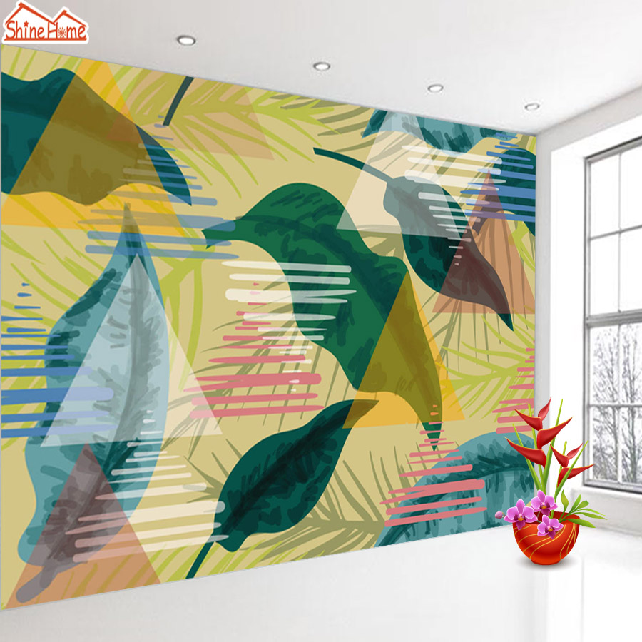 ShineHome-Modern Banana Leaf Strip Abstract Background Wallpapers Rolls 3 d Wallpaper for Livingroom Walls 3d Kids Room Paper shinehome modern banana leaf strip abstract background wallpapers rolls 3 d wallpaper for livingroom walls 3d kids room paper