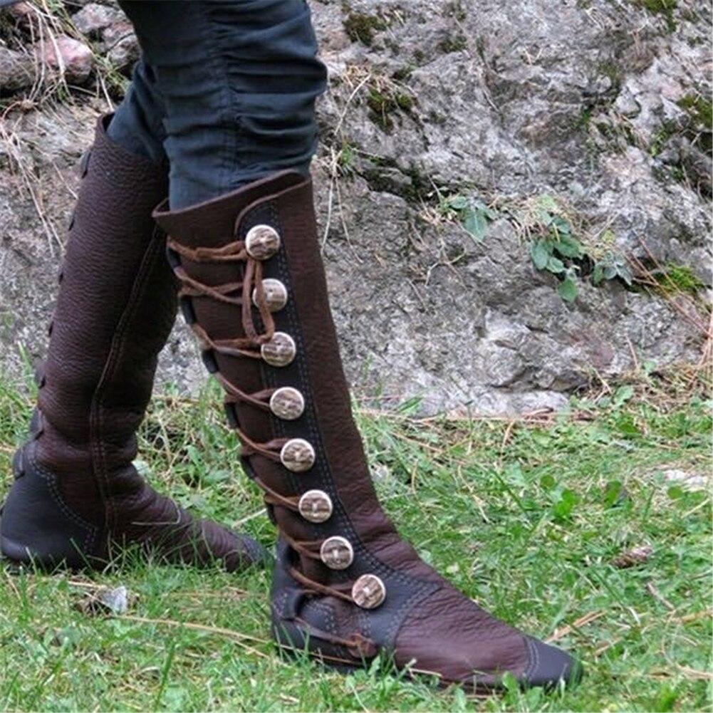D'hiver Femme En Genou Métal Sapato Chaussures Équitation Haute marron Chaussons Nouvelles 2018 Cuir Femmes Souple Noir Bottes Vintage Bouton Feminino nxZw7