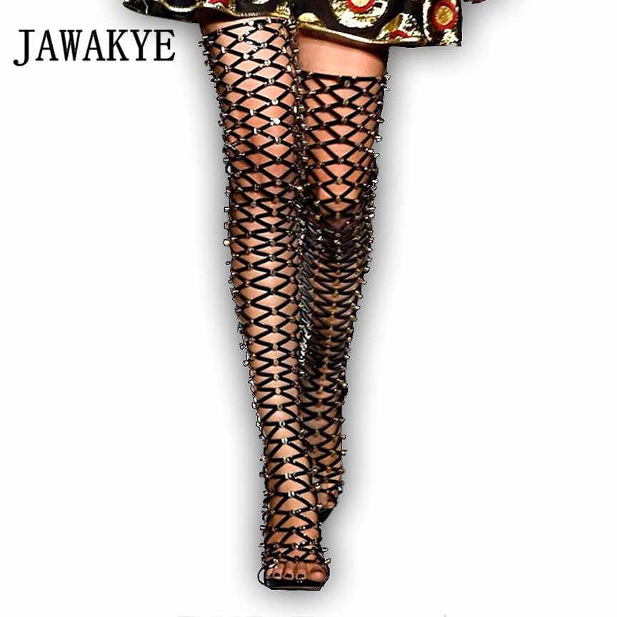 Seksi Cut çıkışları Çivili Kafes Uzun Çizmeler Kadın Patent deri diz Üzerinde Gladyatör Uyluk Yüksek Çizmeler yüksek topuklu Sandalet çizmeler