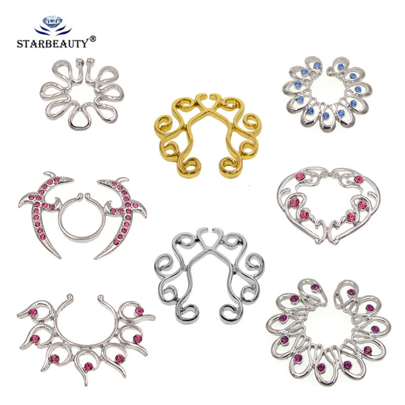 1 Pair Ajustble size Fake Piercing Sexy Stainless Steel Nipple Ring Nipple Shield Piercing Jewelry Sexy Body Jewelry For Women
