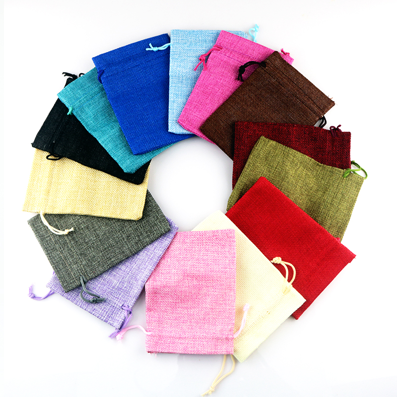 Wholesale 50pcs Linen Jute Bags Nice Drawstring Gift Bag Pouches Wedding Decoration Charms Watch Bracelet Jewelry Packaging Bags