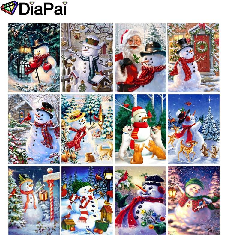 "DIAPAI 100% Full Square/Round Drill 5D DIY Diamond Painting ""Cartoon snowman"" 3D Embroidery Cross Stitch Home Decor"