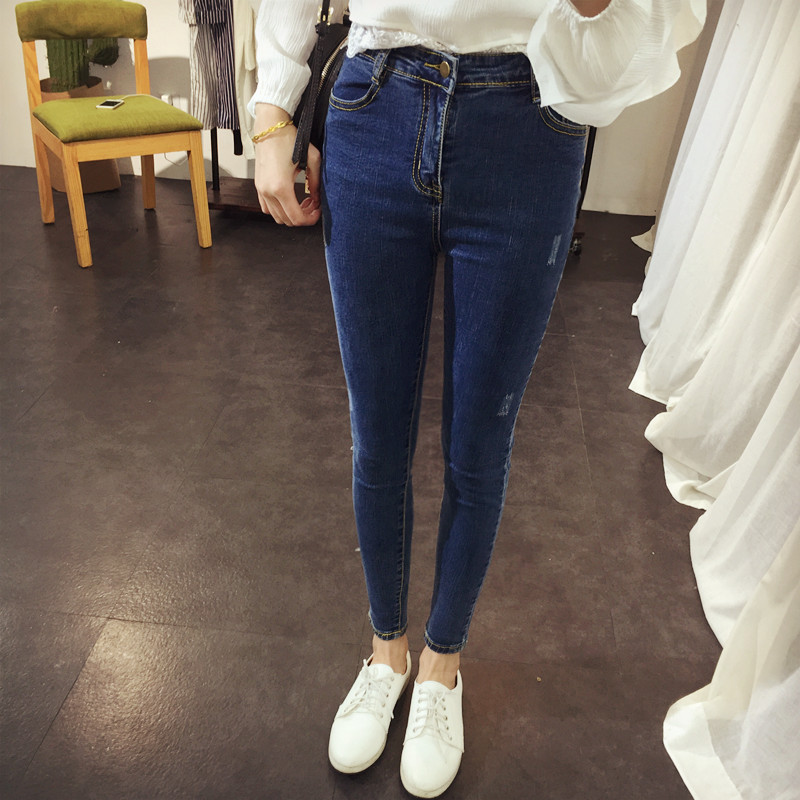 New 2017 Women Jeans Plus Size High Waist Skinny Pants Slim Worn Elastic Pencil Jeans Blue Jeans Trousers S~XL