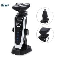 Kemei5886 nuevo 3 IN1 lavable recargable Afeitadora eléctrica triple hoja de afeitar eléctrica hombres Cara Cuidado 5d flotante