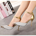 Silver Golden Woman Shoes Glitter Surface Golden Metal Head 11cm Thin High Heels  Fashion Sexy Pointed Toe Two-Piece Women Pumps