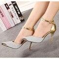 Zapatos de Mujer de plata de Oro Brillo Superficial de Oro Cabeza de Metal 11 cm Altos Talones Finos Moda Dedo Del Pie Acentuado Atractivo de Dos pieza de Las Mujeres Bombas