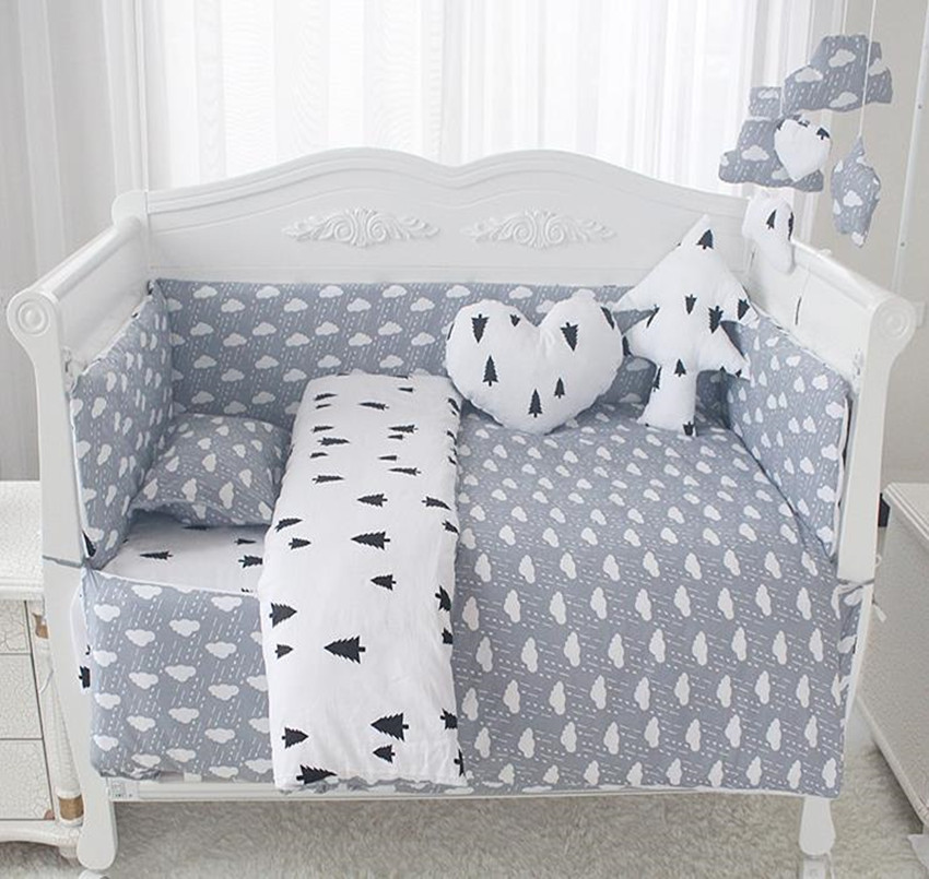 Baby Bedding Sets Comfortable Baby Bed Bumpers Pure Cotton Print AB Double Side Baby Bumper Bed Around Bed Sheets Quilt Cover plaid print solid quilt