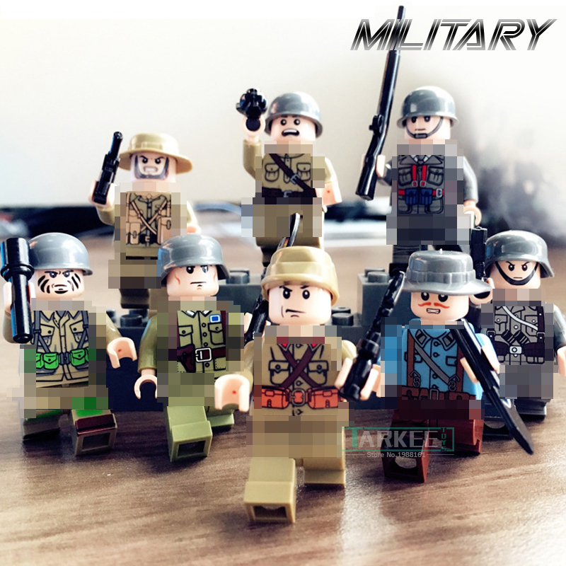 8pcs/set WW2 Army Soldiers Action Figures Military Building Blocks Toys World War II Kids Educational Bricks Toy Children Hobbie kazi military building blocks diy 16 in 1 world war weapons german tank airplane army bricks toys sets educational toy for kids
