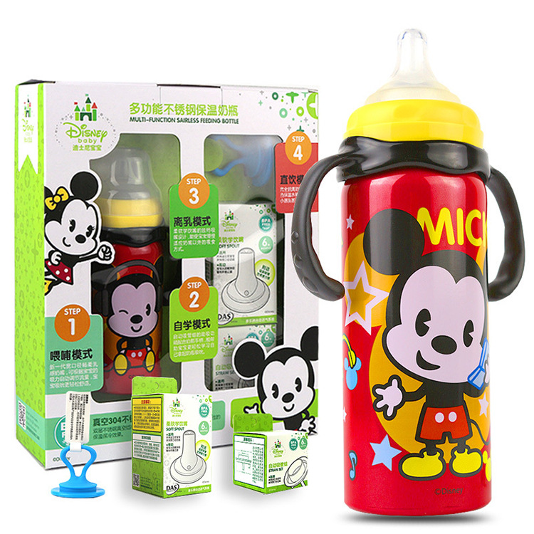 Disney Mickey Thermos Baby Nipple Feeding Bottle Vacuum Flask Insulation Newborn Suckle Bottles Sets Student Thermos Cup