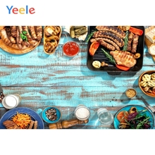 Yeele Delicious Food Steak Barbecue Blue Planks Wooden Board Photography Backgrounds Photographic Backdrops For Photo Studio