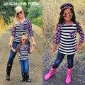 2017 новая коллекция весна семьи сопоставления одежда полоса печати соответствия мать и дочь одежда семья взгляд майка одежды семьи