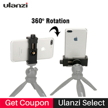 Ulanzi Universal Cell Phone Tripod Mount Clipper Vertical Bracket Holder 360 Degree Adjustable for iPhone Live Stream Broadcast