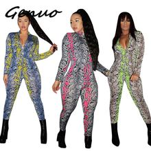 Genuo Snake Print Bodycon Jumpsuit for Women Sexy Lace Up Long Sleeve Bodysuit Autumn Casual Zipper Rompers Womens Jumpsuit