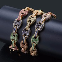 New Design Solid Coffee Beans Chain Necklace Gold Men Hip Hop Bling Iced Out AAA CZ Zircon Charm Necklaces Men Jewelry 18 22