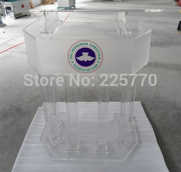 Three Tier Big Acrylic Church Lectern Perspex Church Podium Plexiglass Church Platform Plexiglass