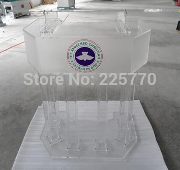 Three Tier Big Acrylic Church Lectern Perspex Church Podium Plexiglass Church Platform Plexiglass