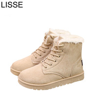 Female Warmer Plush Sneakers Fur Suede Women Boots Flat Women Shoes Slip On Winter Ankle Snow