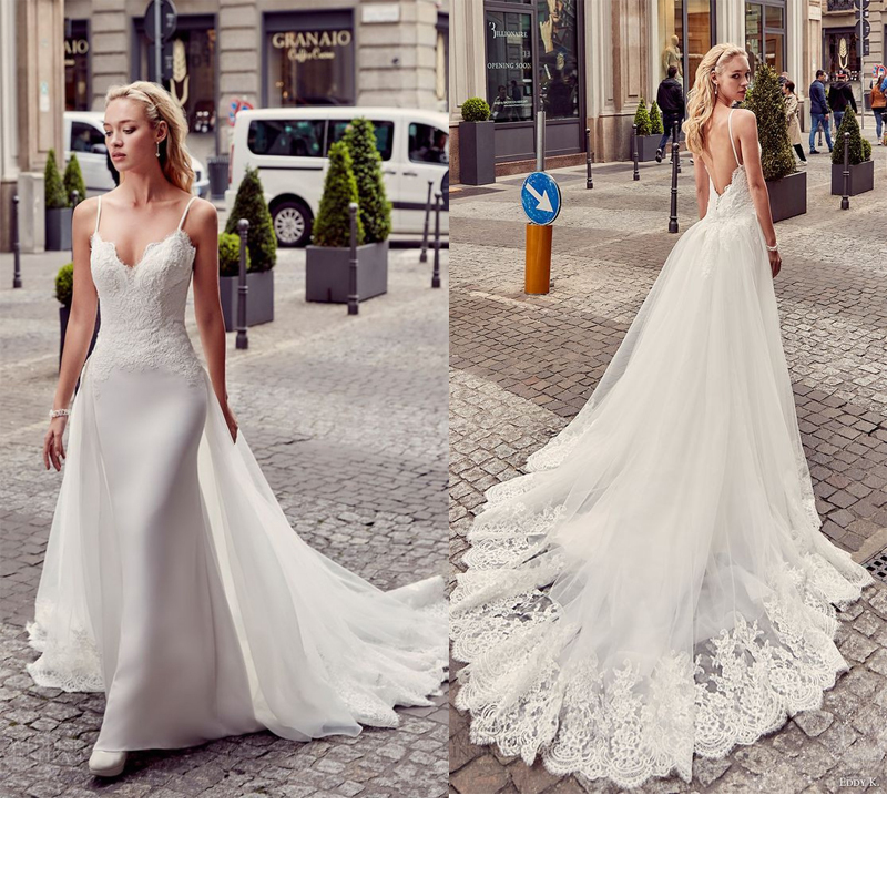 LORIE Mermaid Wedding Dress Sleeves 2019 Spaghetti Straps Vintage Lace Sweetheart Neck Bridal Gown Backless Wedding Gowns