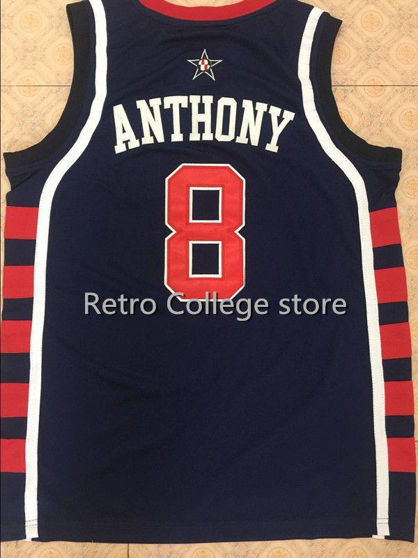 #8 Кармело Энтони команда США Баскетбол Джерси Винс Картер, ретро Для мужчин; возврат Вышивка настроить любой размер
