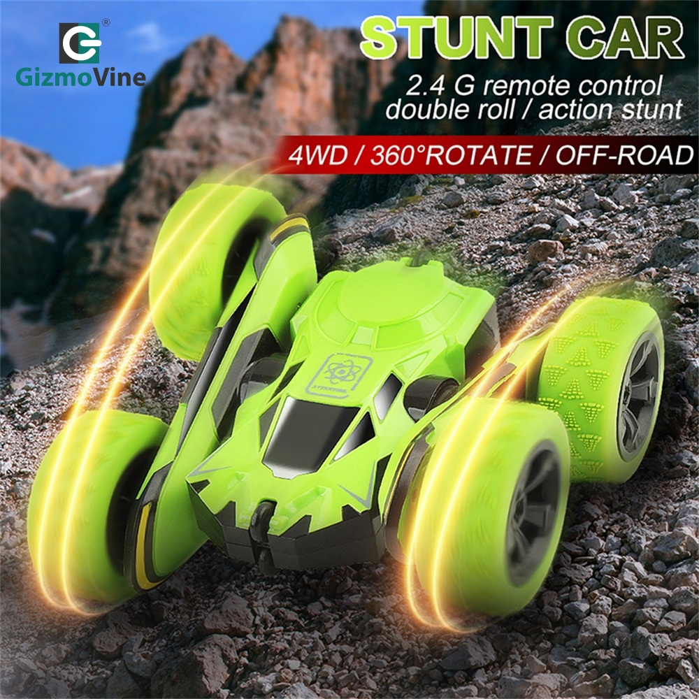 GizmoVine 360 Degree Rc Car Toys Electric Race Double Sided 2.4Ghz 4CH Stunt Remote Control Machines Off Road Car Kids Playsets