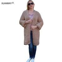 Женские зимние свитер пальто-кардиган Новинка 2017 Тип Толстая грубой шерсти синий кардиган свитер белый ручной работы толстый свитер шаль