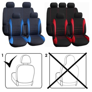 Image 5 - VODOOL 9Pcs Polyester Car Seat Cover Set Universal Front Rear Car Seat Protector Covers Cushion Car Styling Interior Accessories