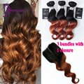 Body Wave 3 Bundles with Closure 7A best quality 100g/pc Brazilian vrigin human hair Weave Bundles Ombre color Bundles T1B/30